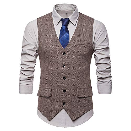 MODOQO Men's Formal Business Suit Vest Slim Fit Single Breasted Waistcoat (Khaki,2XL) ()