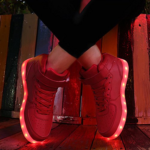 Fluorescence Chaussures LED Chaussures Sneakers BOZEVON Sports Hommes USB Unisexe Rechargeable Lumineuse Femmes Lumière Lumineux aqORnAW