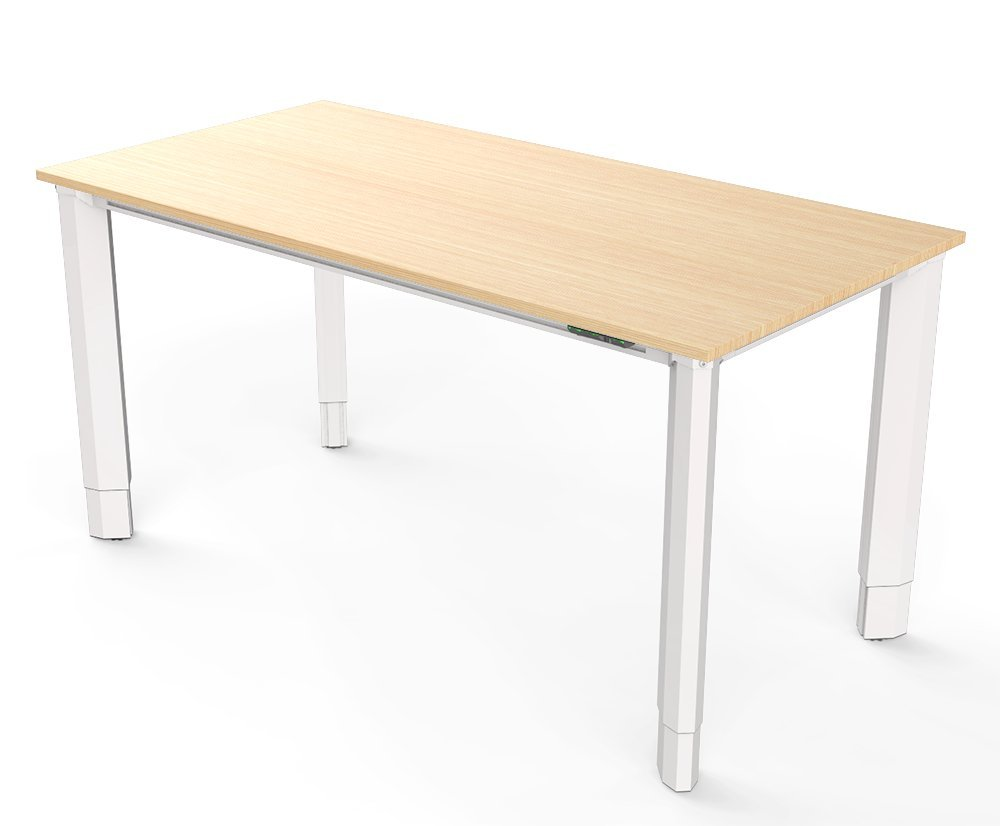 Vivistand Quattro 4-Leg Electric Sit Stand Desk 30'' x 60'' with White Frame and Clear Oak Laminate Top