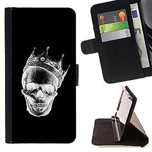 BullDog Case - FOR/Sony Xperia Z1 L39 / - / CROWN BLACK WHITE SKULL DEATH ROCK /- Monedero de cuero de la PU Llevar cubierta de la caja con el ID Credit Card Slots Flip funda de cuer