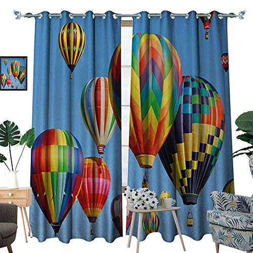 RenteriaDecor Colorful Room Darkening Wide Curtains Nostalgic Hot Air Balloons in Sky Flying Journey Fun Adventure Traditional Hobby Theme Customized Curtains W72 x L108 Blue ()