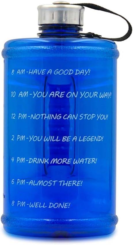 XICHENGSD Botella Deportiva - Bidón de Agua sin BPA - Cantimplora con Tapa y asa - Botella Grande de 2.2 litros para Hacer Deporte en- Blue-2.2L