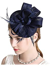 b6523c1988d2a Sinamay Feather Fascinators Womens Pillbox Flower Derby Hat for Cocktail  Ball Wedding Church Tea Party