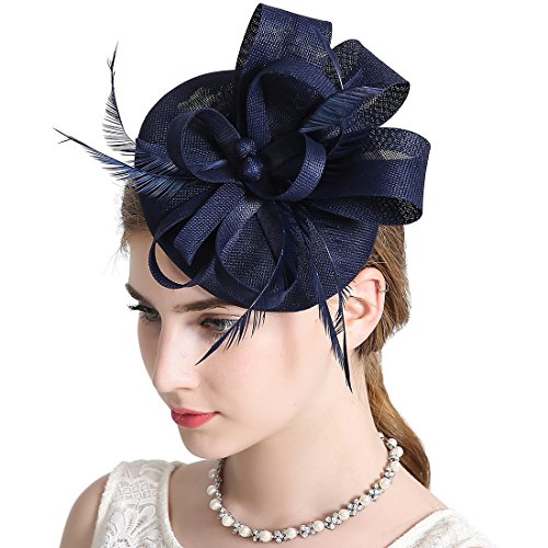 Sinamay Feather Fascinators Womens Pillbox Flower Derby Hat for Cocktail Ball Wedding Church Tea Party Navy blue