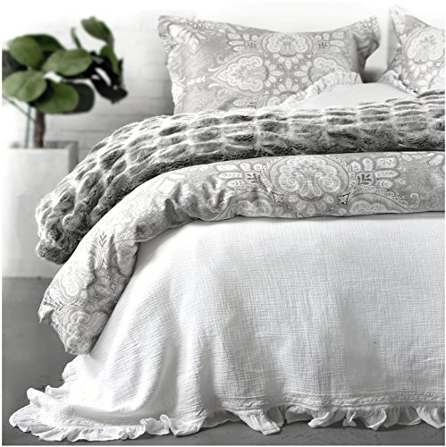 Tahari Home Vintage Damask Ornate Scroll Luxury Duvet Cover 3 Piece Bedding Set Antique Bohemian Paisley Medallion Taupe Tan Ivory Patterned 300tc Cotton Full/Queen or King (Queen, Grey Silver) ()