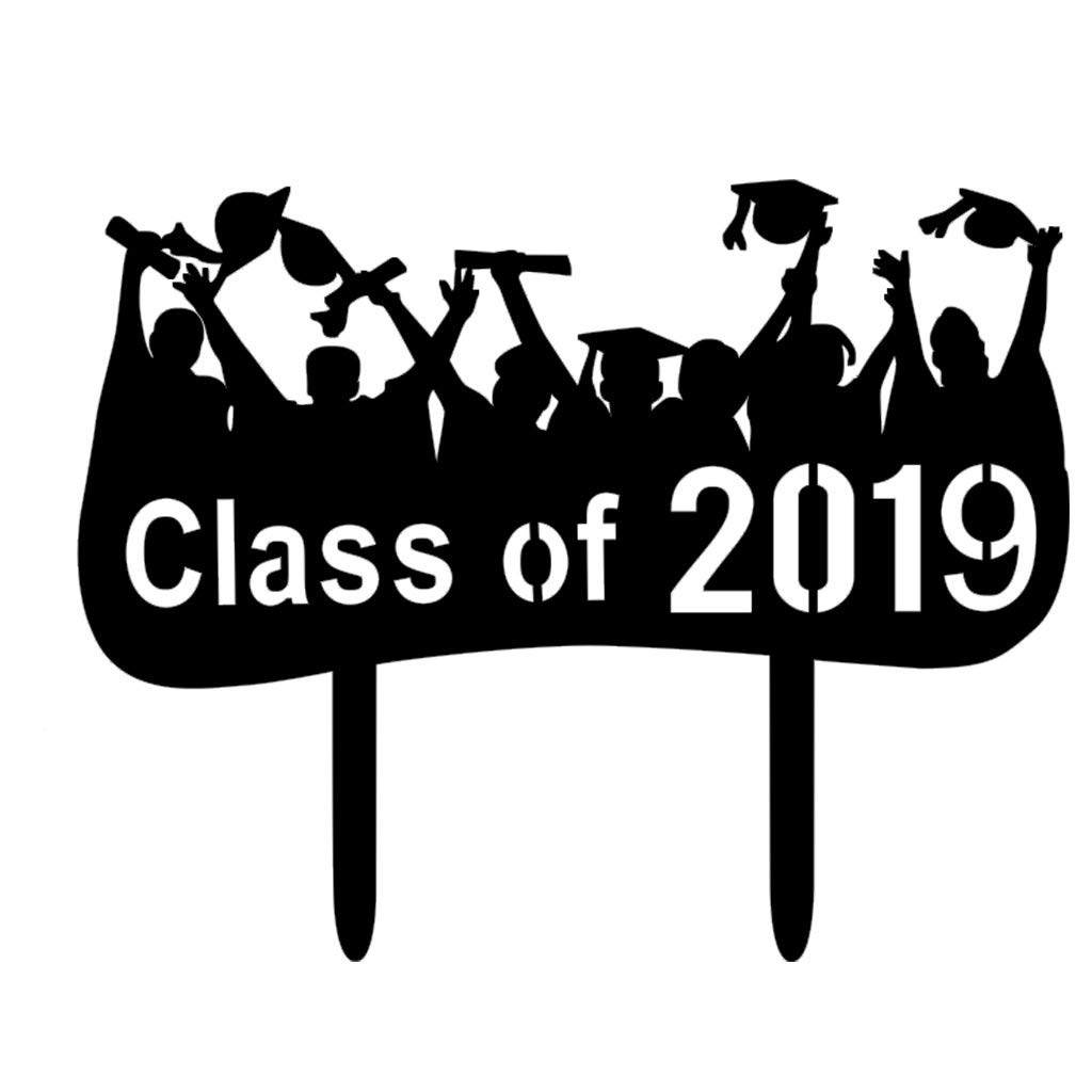 Hongxin--Acrylic Black Class Cake Toppers for College Graduate High School Graduation 1PC-Add a Happy Atmosphere to The Party (D)