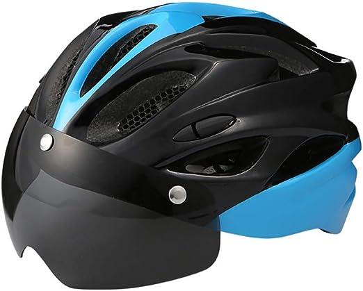 SXC Casco Bicicleta con Gafas magnéticas/Forro Desmontable Cascos de Ciclismo de montaña para Adultos Hombres Mujeres, 56-62 cm: Amazon.es: Hogar