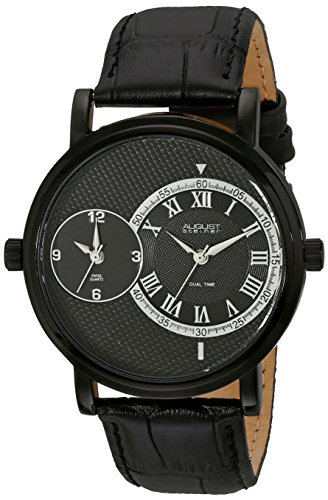 August Steiner Men's AS8146BK Black Dual Time Zone Swiss Quartz Watch with Black Dial and Black Leather Strap
