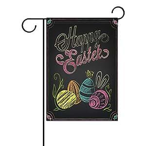 ALAZA Happy huevos de Pascua tiza art poliéster bandera de Jardín Casa Banner 12x 18inch, dos Sided bandera de bienvenida Patio Decoración para Boda Fiesta Decoración para el hogar