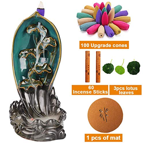 Sweet Alice Incense Burner, Ceramic Backflow Incense Holder, Home Decor Aromatherapy Ornament, with 160 pcs Incense
