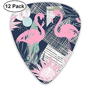 Guitar Picks Pink Flamingo und Leaves Premium Celluloid Picks12 Pack enthält dünne, mittlere und schwere, extra schwere…