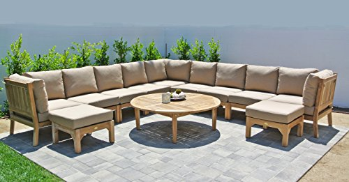 Fabric Outdoor Coal (Willow Creek Designs 12 Piece Huntington Sectional Seating Group with 52