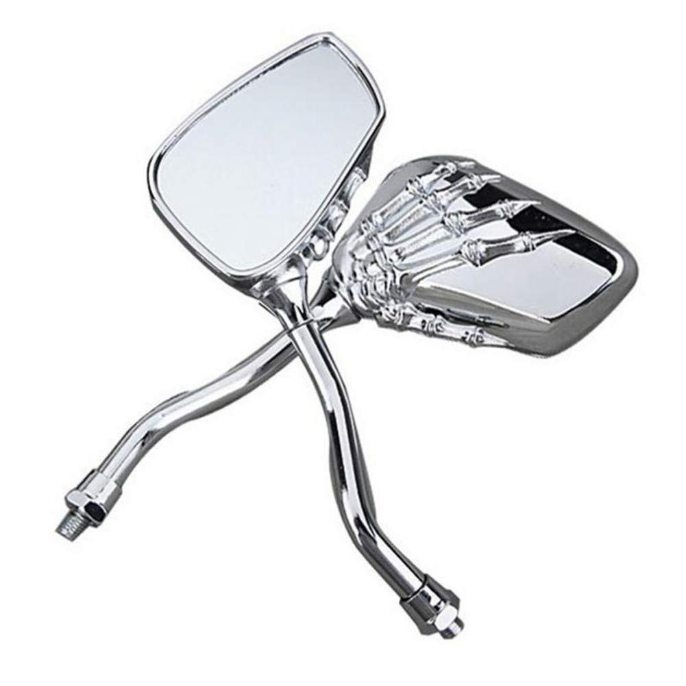 Ternence Flynn Motorcycle Rearview Side Mirrors 1 Pair Left Right Skeleton Skull Hand Claw Motor Rearview Side Mirrors Bike Rear View Mirror Full of Fashion