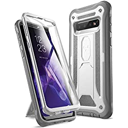 YOUMAKER Case for Galaxy S10, Built-in Screen Protector Work with Fingerprint ID Kickstand Full Body Heavy Duty Protection Shockproof Cover for Samsung Galaxy S10 6.1 inch (2019) - White/Gray