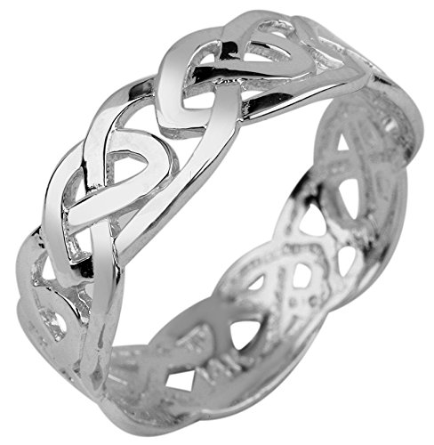 Fine 10k White Gold Celtic Wedding Band Trinity Knot Eternity Ring (6.25)