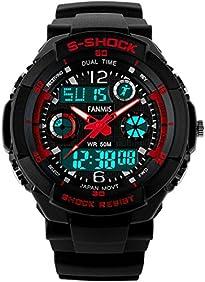 Fanmis S - Shock Military Analog Digital Display Multifunction Dual Time Alarm Waterproof Sport Watch Red