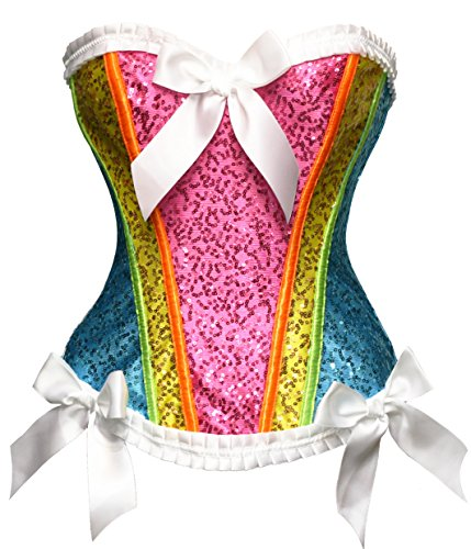 Bslingerie Womens Waist Cincher Boned Corset with Brocade (XX-Large, Rainbow) -