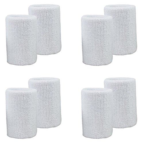 MAKLULU 8PCS 4.3-inch White Sports & Outdoors Double Sweat Wristbands 2 Ply Thickness Terry Cloth Moisture Wicking - M04