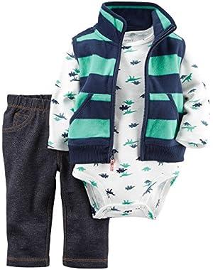 3 Piece Dino Vest Set (Baby) - Navy - 3 Months