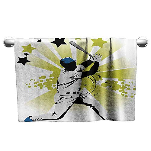 DUCKIL Absorbent Towel Sports Decor Pitcher Hits The Ball Fast Stars All Over The Bat Speed Strong Game Motion Team Graphic Soft Bath Towel 27 x 14 inch White Green