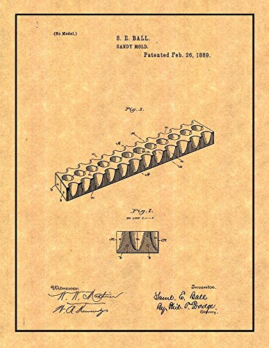 Candy Mold Patent Print Art Poster with Border