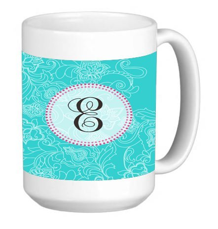 Monogram Letter E Swirl Pattern 15 ounce Ceramic Coffee Mug Tea Cup (Mug Oz 15 Swirl)