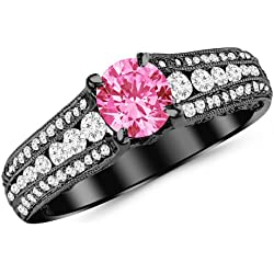 1.7 Carat 14K Black Gold Gorgeous Channel And Pave Set Graduating Round Designer Diamond Engagement Ring with a 1 Carat Natural Pink Sapphire Center (Heirloom Quality)