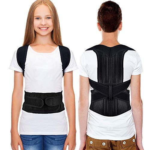 Back Posture Correction, HailiCare Full Back Support Brace Back and Shoulder Brace for Upper Lower Back Support, Brace to Relieve Slouch, B Slouch, Back Pain, Thoracic Kyphosis - Size (Waist 24