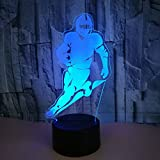 Football Player NFL 3D Night Light, 7 Colors Changing LED Desk Lamp Touch Control for Boys, Dad, Sports Fan Gift