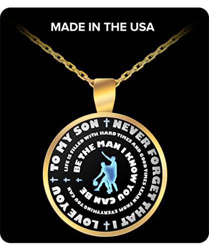 Boys Basketball Necklace - Gold Pendant – To My Son - Personal Gift From Mom & Dad - Inspirational Sports Charm - Blue (Couple Themed Costume Ideas)