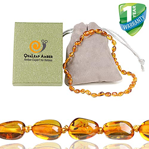 Amber Teething Necklace for Baby (Unisex - Cognac - 12.5 Inches), 100% Authentic Baltic Amber Teething Necklace for Toddler & Infant