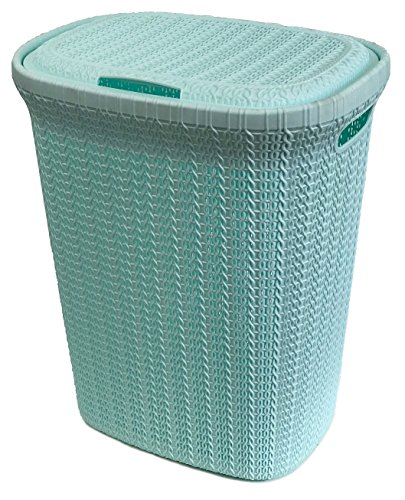 Wee's Beyond W08-1076-PS.Grn Knit Style Laundry Hamper 55 Liters Pastel, Green (Laundry Hampers Rattan)