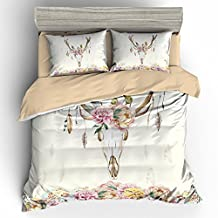BOMCOM 3D Digital Printing Vintage Watercolor Deer Skull Peony Flowers 3-Piece Duvet Cover Sets 100% Microfiber, Boho Style, Ivory (queen, Vintage Watercolor Deer Skull)