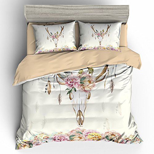 [BOMCOM 3D Digital Printing Vintage Watercolor Deer Skull Peony Flowers 3-Piece Duvet Cover Sets 100% Microfiber, Boho Style, Ivory (california king, Vintage Watercolor Deer Skull)] (We Three Kings Costumes)