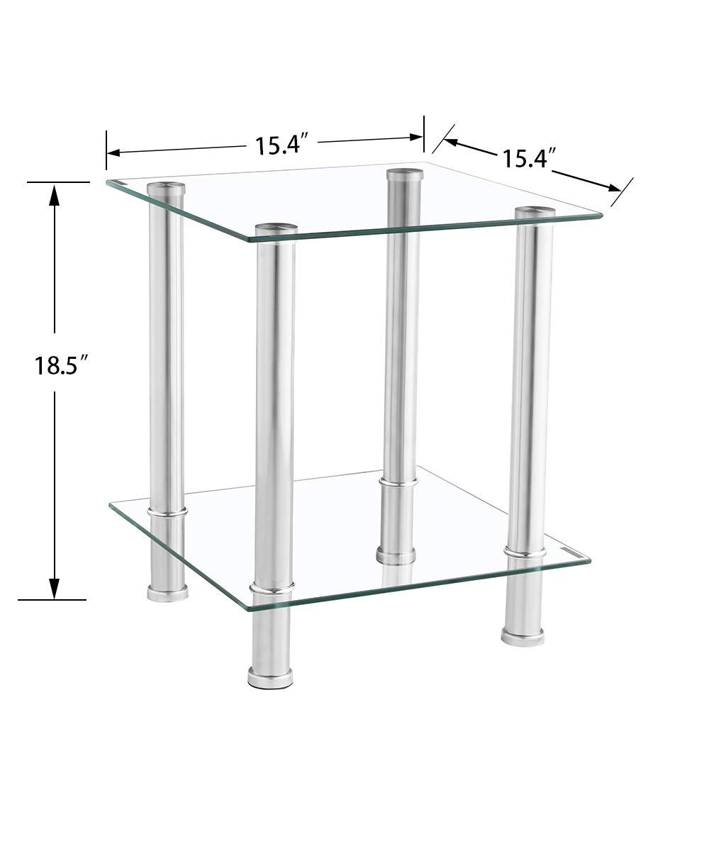 GOLDFAN Mesa de Centro Transparente de Vidrio Templado Sala de Estar Sofá Oficina Hogar Mesa de Dos Pisos,Mesa de Café, [39x39x47 cm]