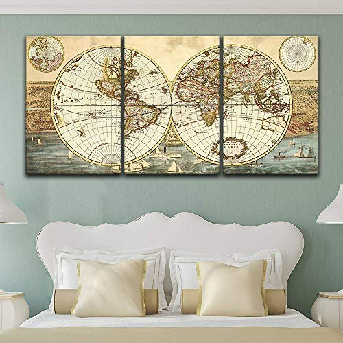 wall26 - 3 Panel Canvas Wall Art - Vintage World Map - Giclee Print Gallery Wrap Modern Home Decor Ready to Hang - 16