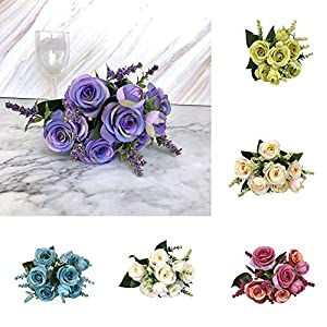 AMOFINY Home Decor Artificial Fake Blooming Rose Flower Bridal Bouquet Wedding Party Home Decoration 64