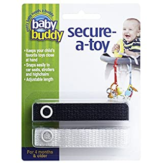 Baby Buddy Secure-A-Toy - Straps Toys, Teether, or Pacifiers to Strollers, Highchairs, Car Seats— Safety Leash With Adjustable Length to Keep Toys Sanitary & Clean, Black/White 2 Count