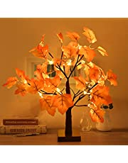 Fall Decor 18.7in 24 LED Artificial Lighted Maple Tree Tabletop Tree Lights Fall Decorations for Home Indoor Thanksgiving Autumn Decorations Harvest Home Decor, Battery Operated