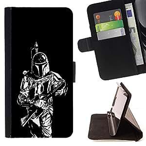 - Bounty Hunter - - Prima caja de la PU billetera de cuero con ranuras para tarjetas, efectivo desmontable correa para l Funny HouseFOR Sony Xperia Z1 Compact D5503