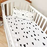 Newborn Baby Boy Girls Crib Fitted sheets Cotton Comfort Cartoon Cot Bed Sheets 60130cm (Tree)