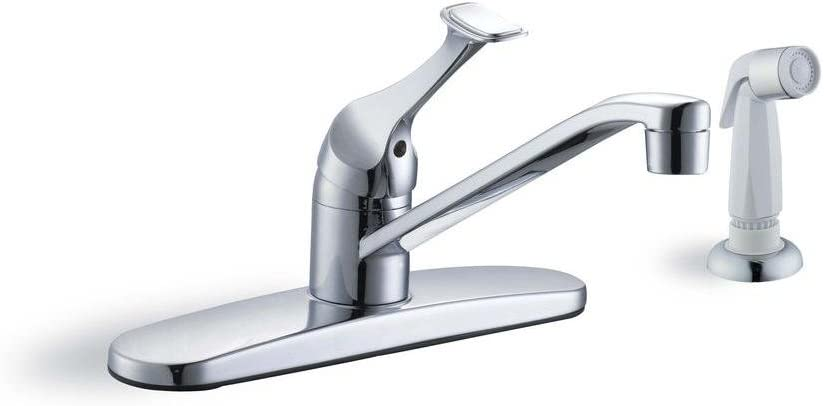Glacier Bay 67552-1101 Single-Handle White Side Sprayer Kitchen Faucet in Chrome