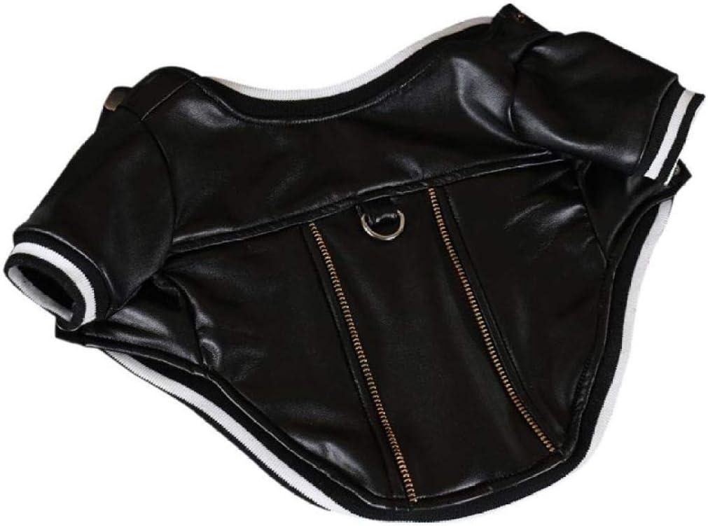 AMURAO Pet Warm Coat Solid PU Chaqueta de Cuero Ropa para Perros Traje de Cachorro con Hebilla de Cuerda de tracción