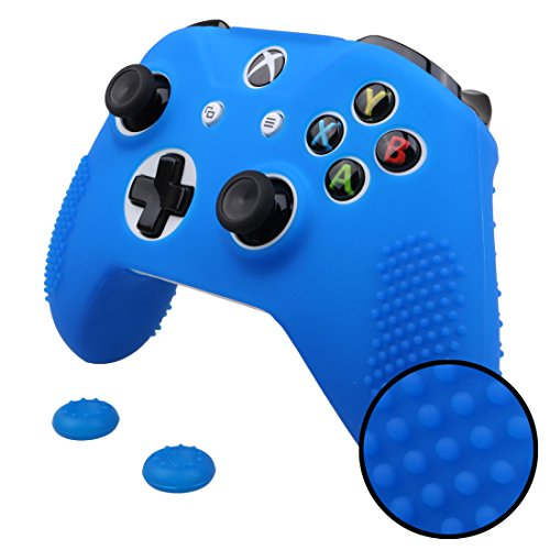Pandaren STUDDED Anti-slip Silicone Cover Skin Set for Xbox One S / Xbox One X Controller (Blue Skin X 1 + Thumb Grip X 2)
