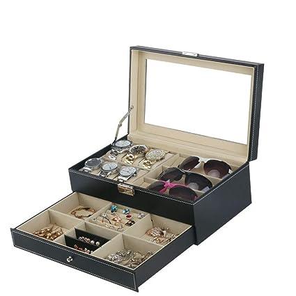 AnchengKAO Cajas Relojes Hombre Caja de Almacenamiento Multifuncional de la joyería de la joyería de los
