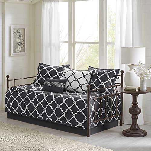 Madison Park Essentials Merritt Daybed Size Quilt Bedding Set - Black, Geometric - 6 Piece Bedding Quilt Coverlets - Ultra Soft Microfiber Bed Quilts Quilted Coverlet