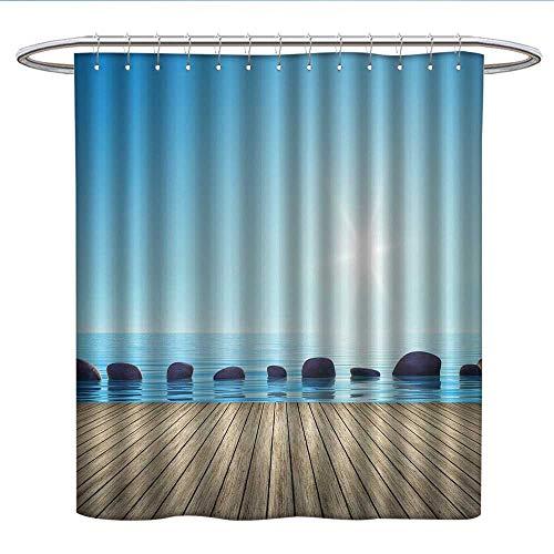 (Nautical Decor Step Stones in The Ocean Artistic Beach Sea Life Fabric Shower curtainPleated Shower Curtain)