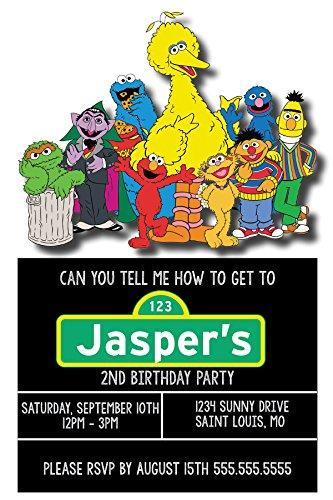 Birthday Invitations - Sesame Street - Big Bird - Cookie Monster - Elmo - Custom Birthday (Birthday Custom Invite)