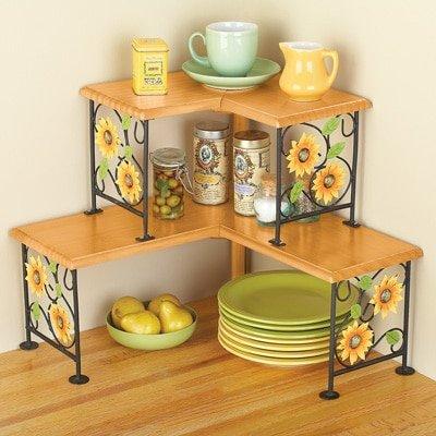 2 Tier Corner Metal Space Saving Shelf Organizing Display Rack (sunflower) (Sunflower Tier)