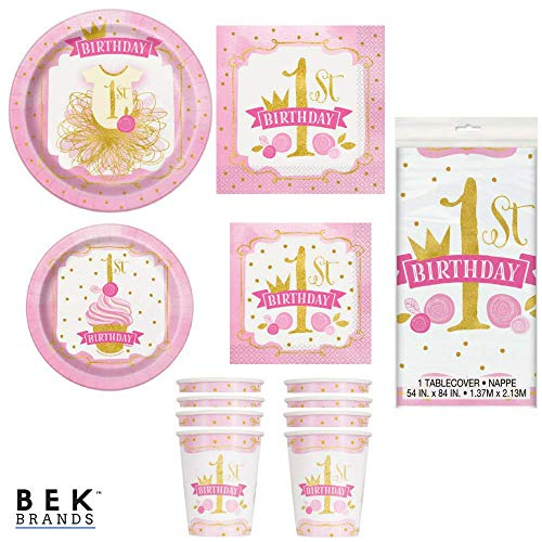 Bek Brands Pink and Gold Girls First Birthday Party Tableware Bundle Plates, Napkins, Cups, and Tablecover - 57 pcs!